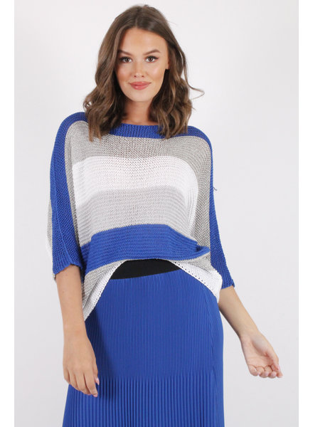 AA Canelle Pull Royal Blue/Silver/White