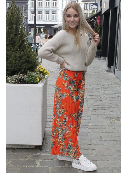 GL Nelly Plisse Trousers Flowers Orange