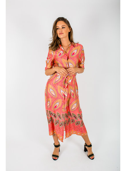 AA Augusta Long Dress Leafs Coral