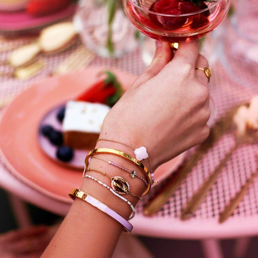 MJ Licht Roze Fijne Armband Kralen & Klavertje Goud