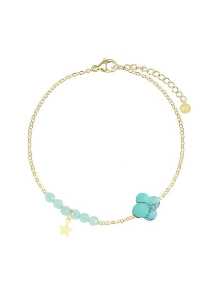 MJ Turquoise Fijne Armband Kralen & Klavertje Goud