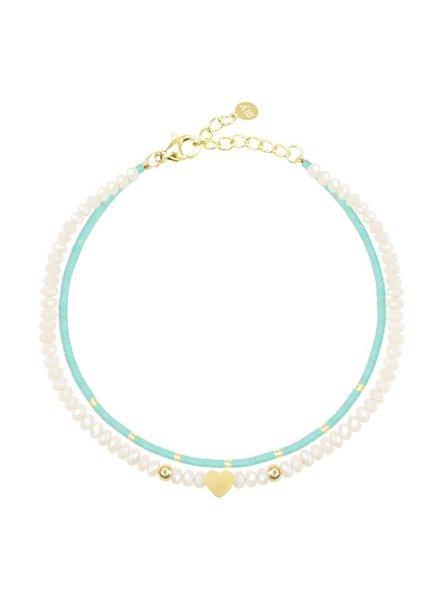 MJ Turquoise Dubbele Armband Goud