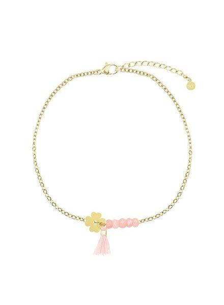 MJ Roze Klaver Armband Goud