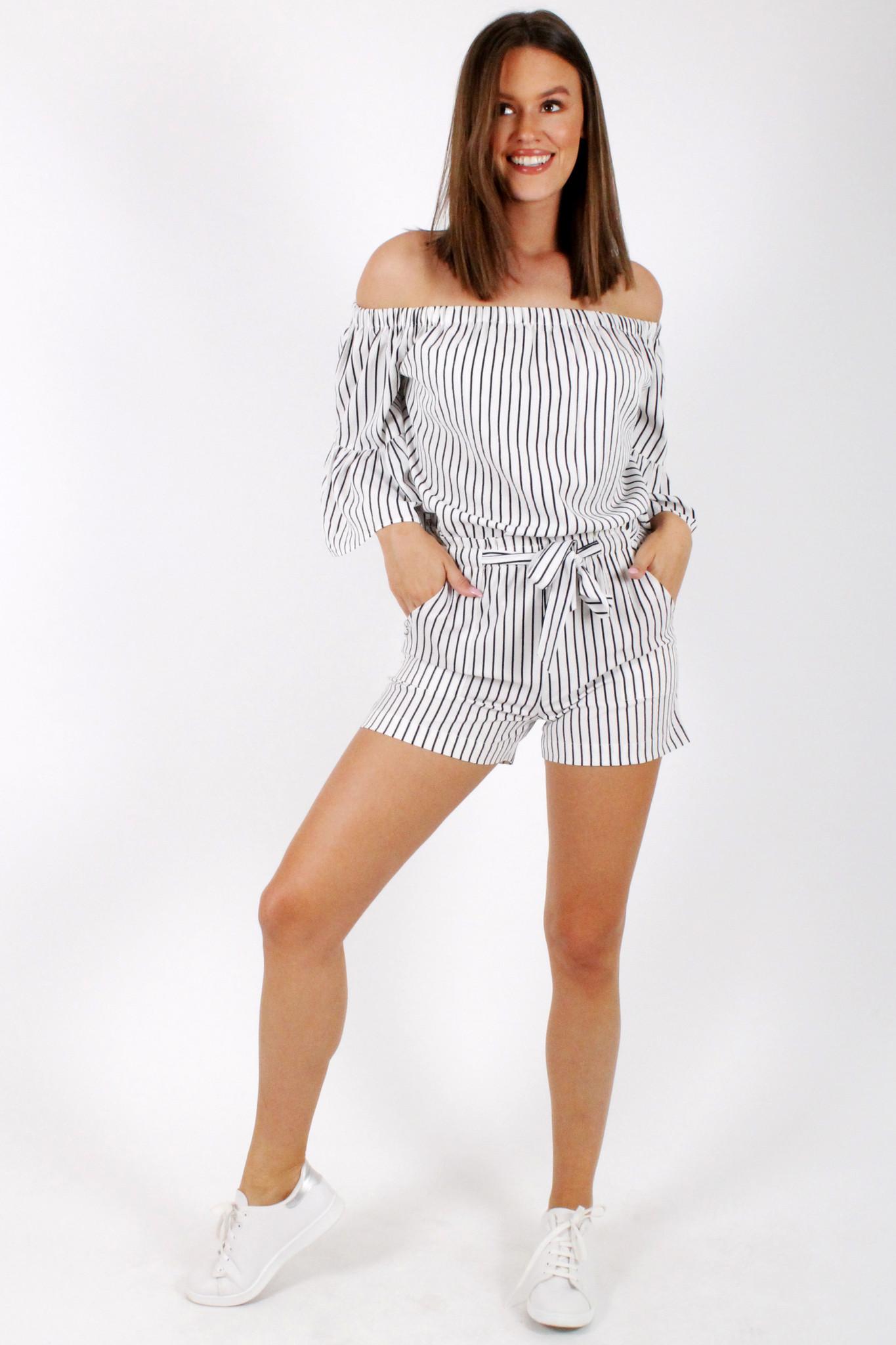 RC Fatima Striped Shorts White
