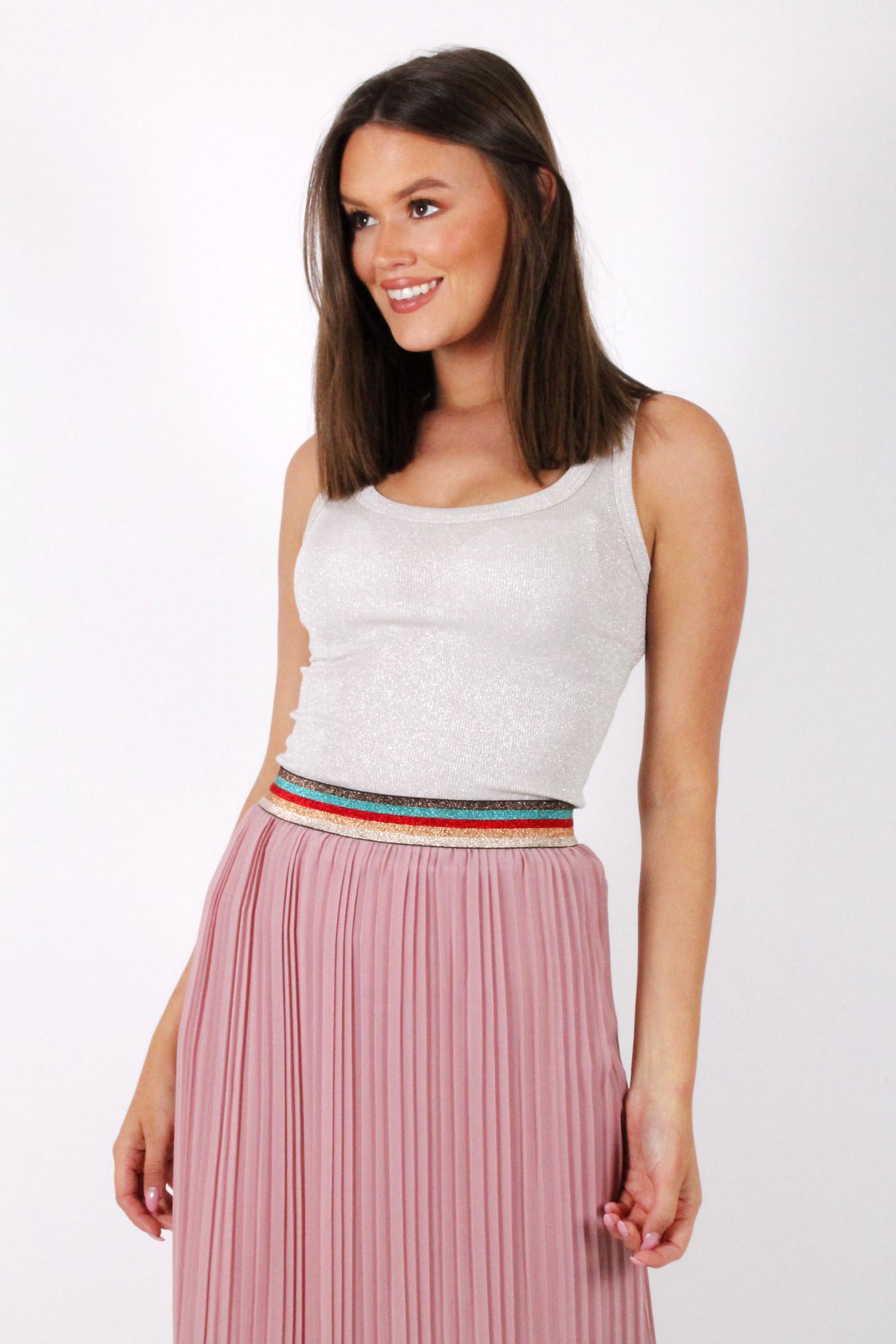 GL Eva Plisse Skirt Old Pink/Multicolor Lurex Border