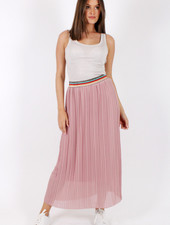 GL Eva Plisse Skirt Old Pink/Multicolor Lurex Border