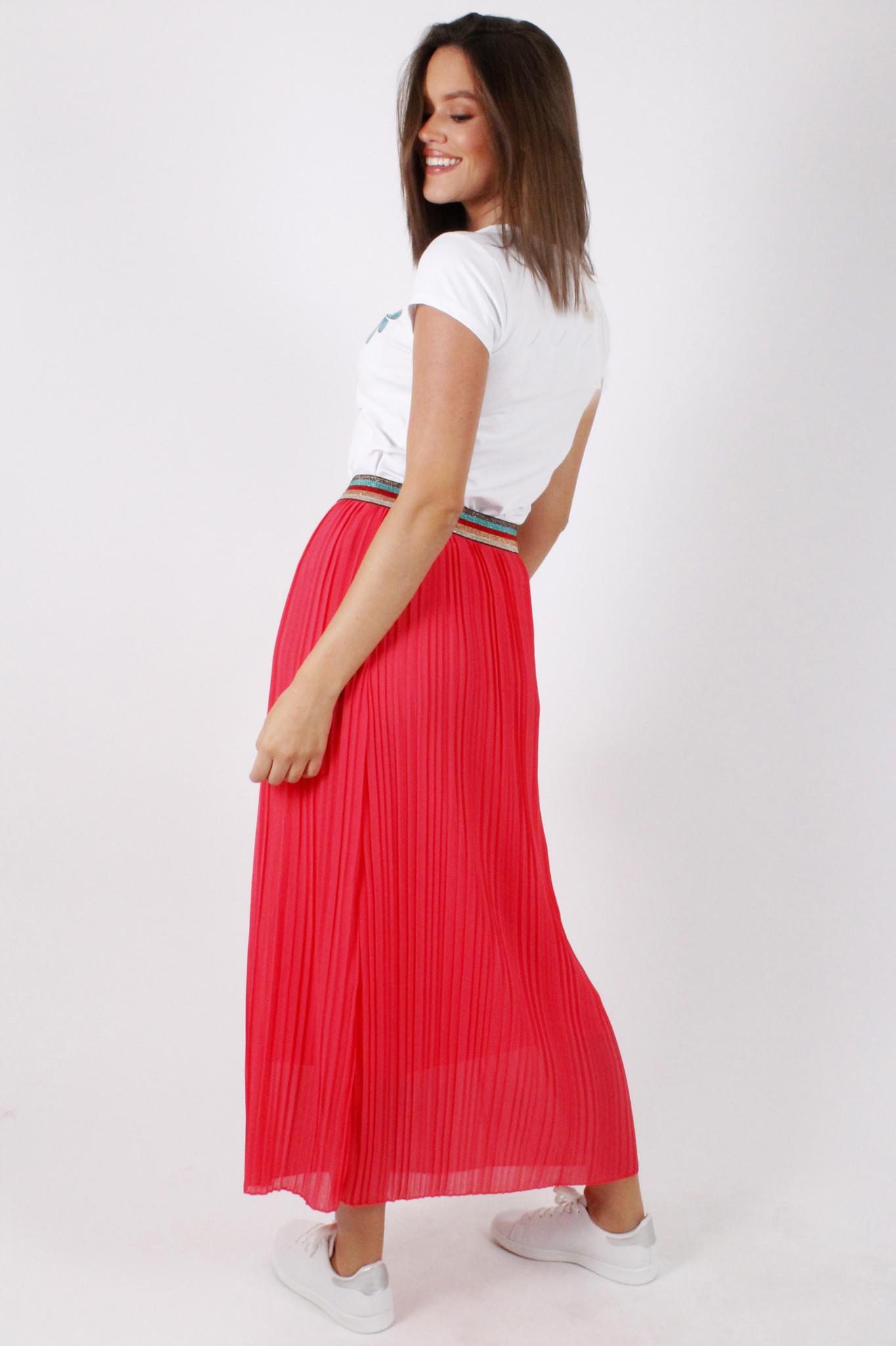 GL Eva Plisse Skirt Coral/Multicolor Lurex Border