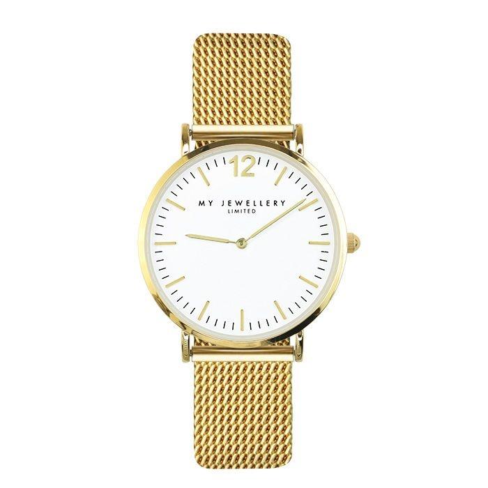 MJ Medium Mesh Watch - White/Gold