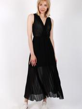 AR Emma Long Plissé Dress Black