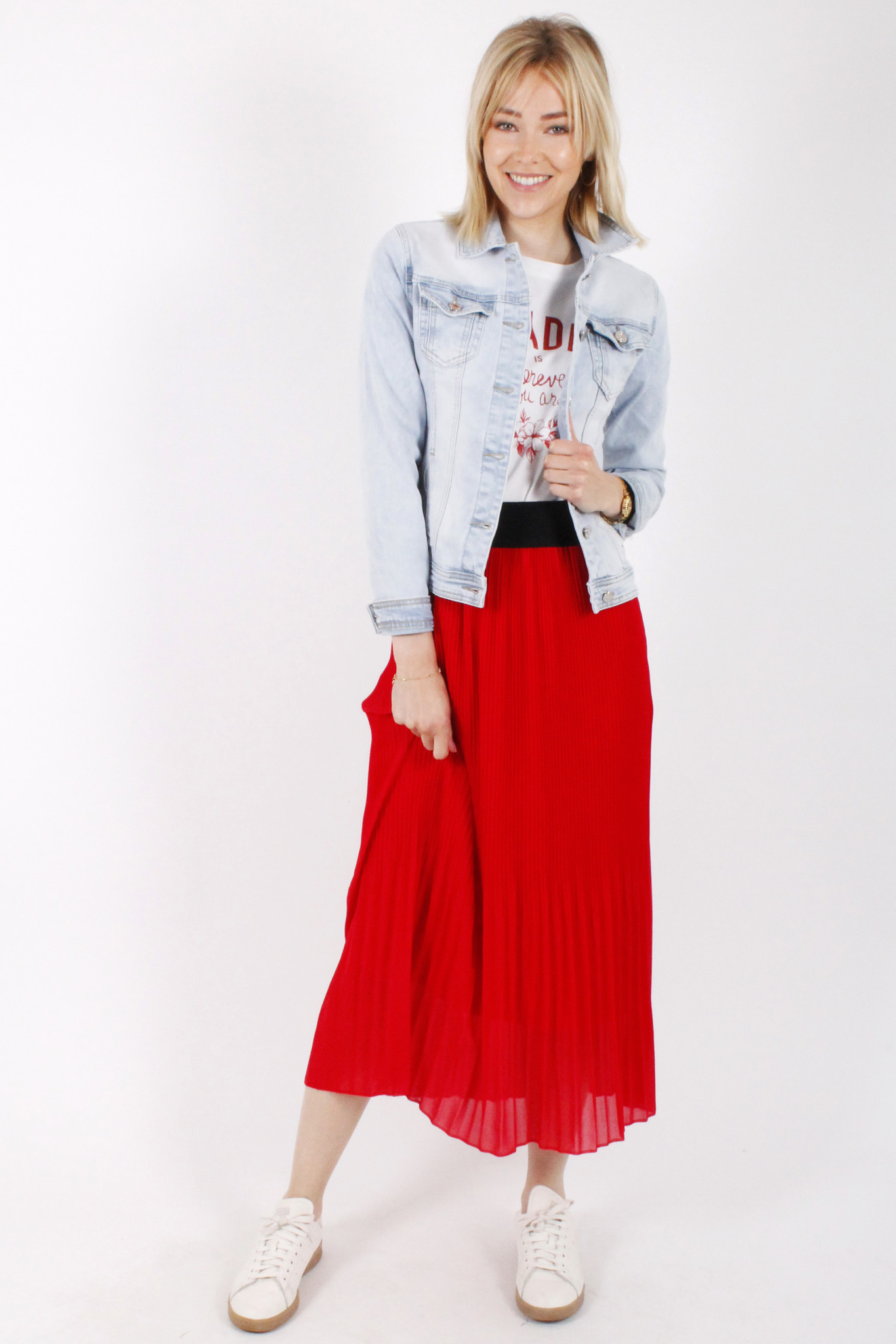 RZ Juline Plisse Skirt Red