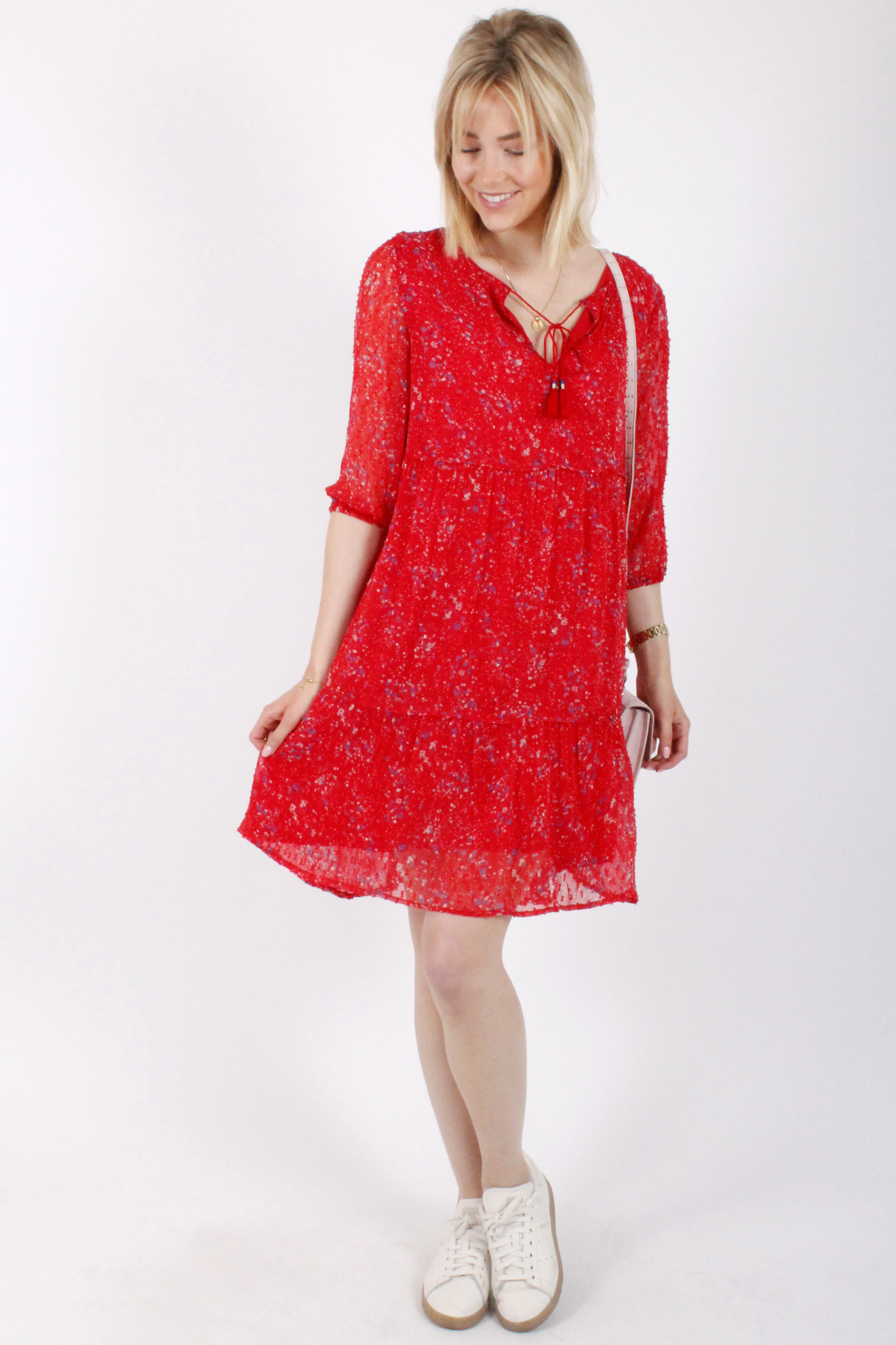 PE Bloom Dress Red Flowers
