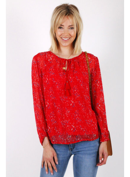 PE Bebou Blouse Red Flowers