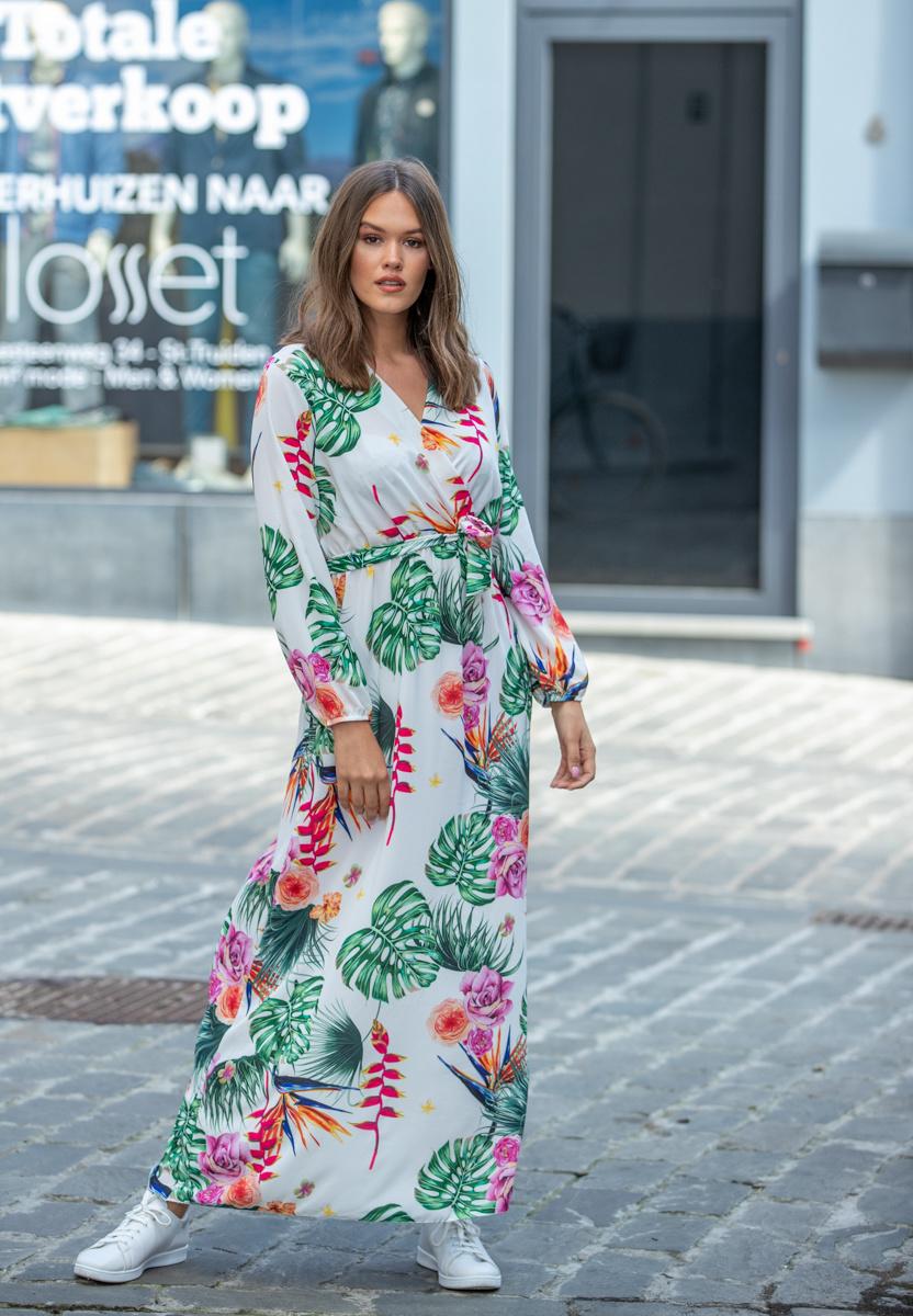 AT Amalia Dress Flowers White
