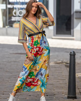 AT Annelies Dress Flowers & Stripes Yellow Tone