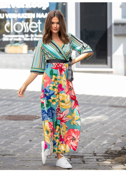 AT Annelies Dress Flowers & Stripes Blue Tone