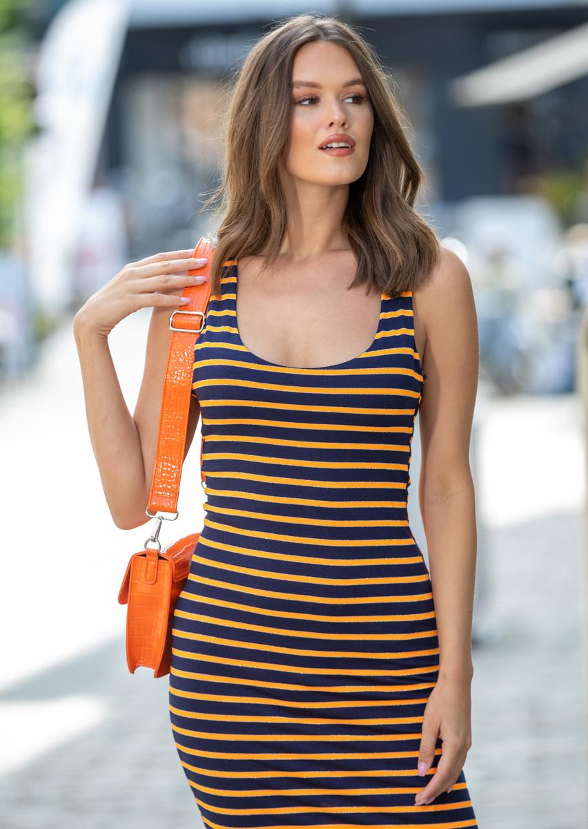 AA Miranda Dress Blue/Orange Stripes
