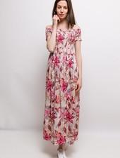 MC Elly Long Off-Shoulder Dress Flowers Fuchsia
