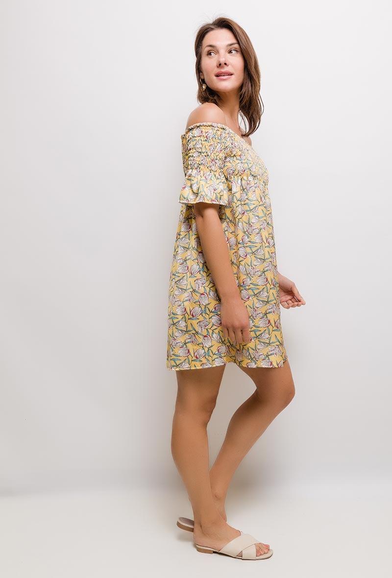MC Essy Satin Tuniek/Dress Yellow Print