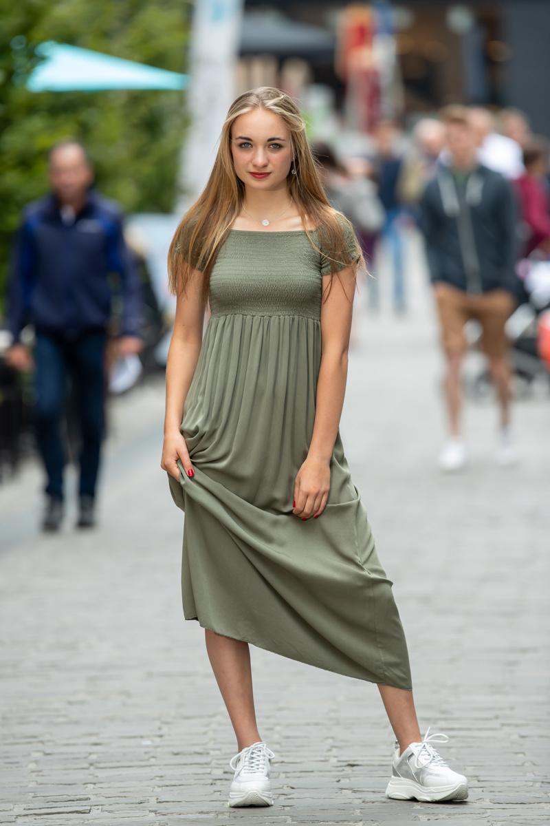 MC Elly Long Off-Shoulder Dress Kakhi