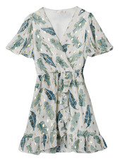 YW Axelle Summer Dress Leaves White