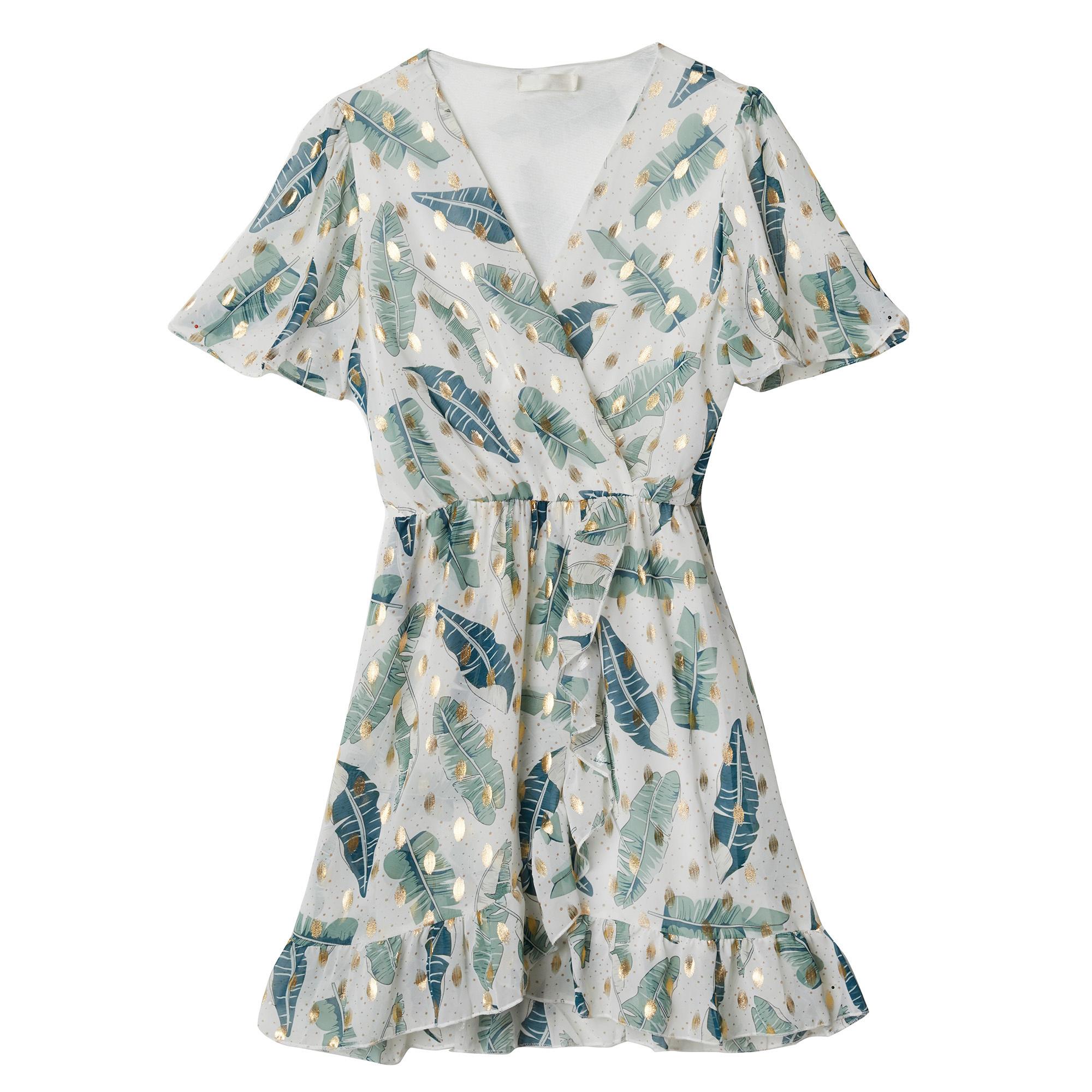 YW Axelle Summer Dress Leaves White