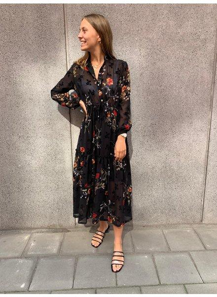 HP Selina Dress Black & Flowers