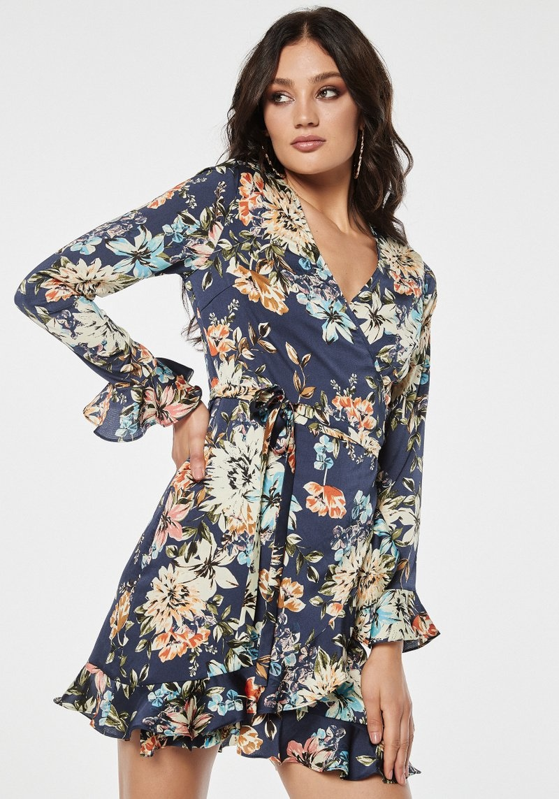RC Jennie Wrap Dress Blue Flower