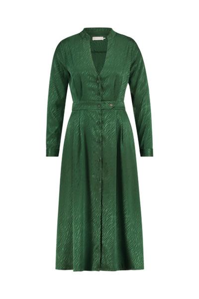 FB Ella Green Long sleeve button up v neck jaquard midi dress
