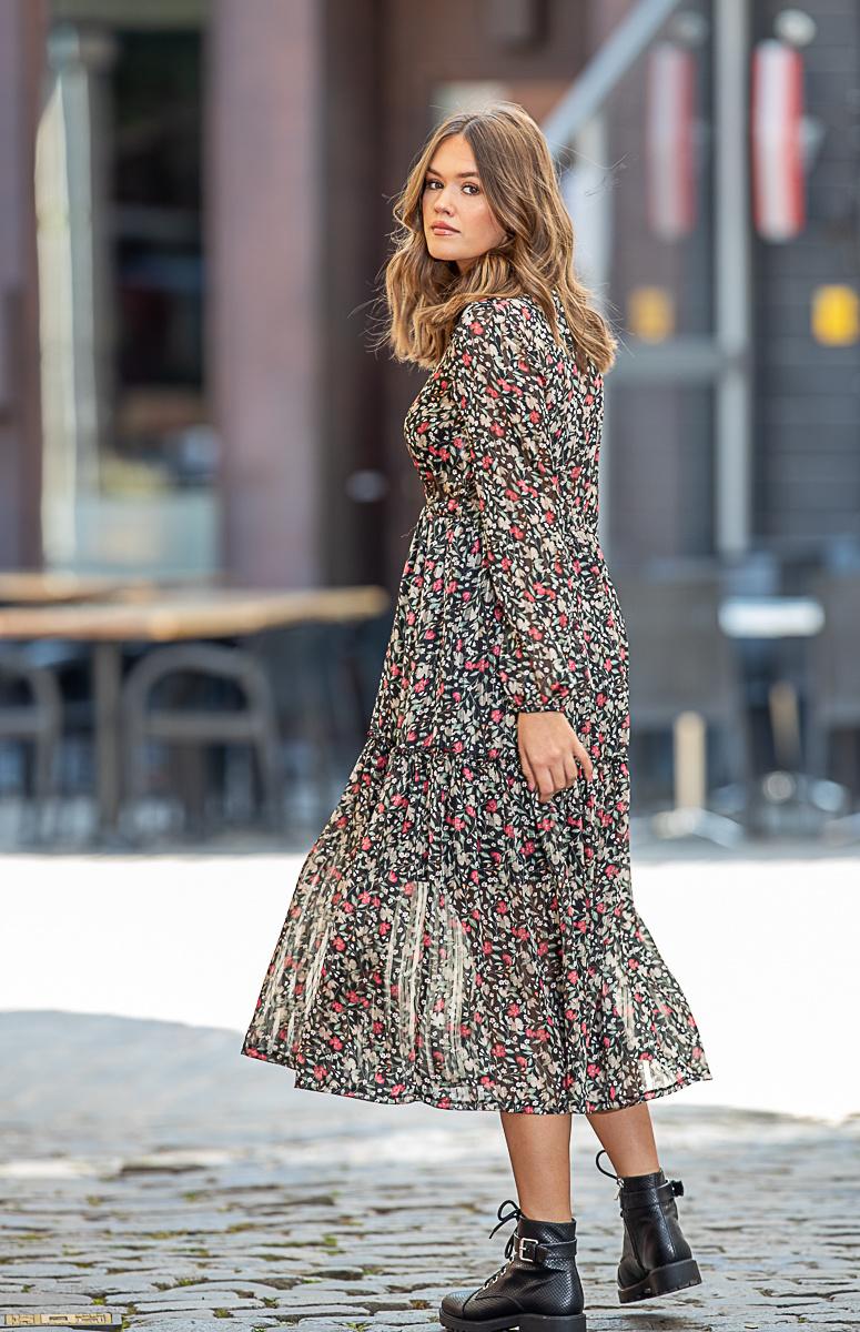 HP Selena Dress Flowers Kakhi/Beige/Pink
