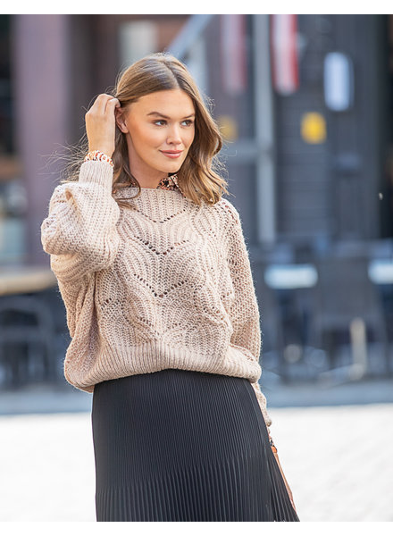 JM Jelle Knit Sweater Beige Wide Sleeve