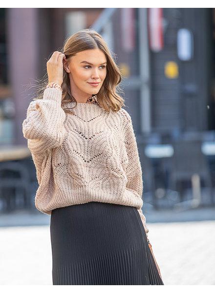 TS JM Jelle Knit Sweater Beige Wide Sleeve