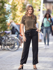 PE Charlotte Pants Black With Side Stripe