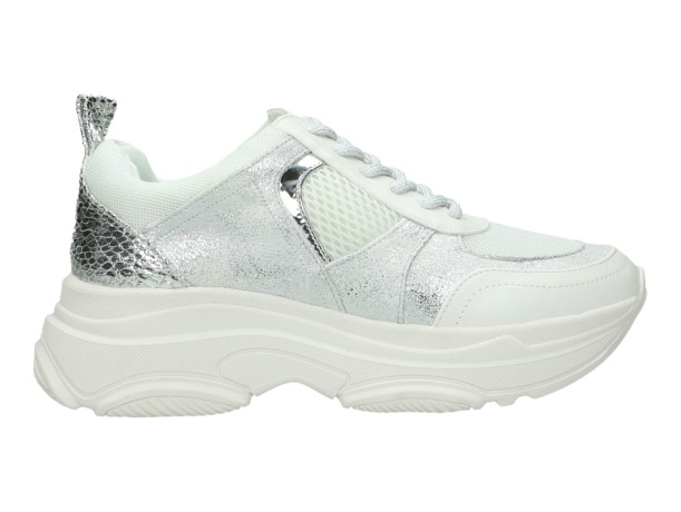 LS White Combi Sneaker Silver