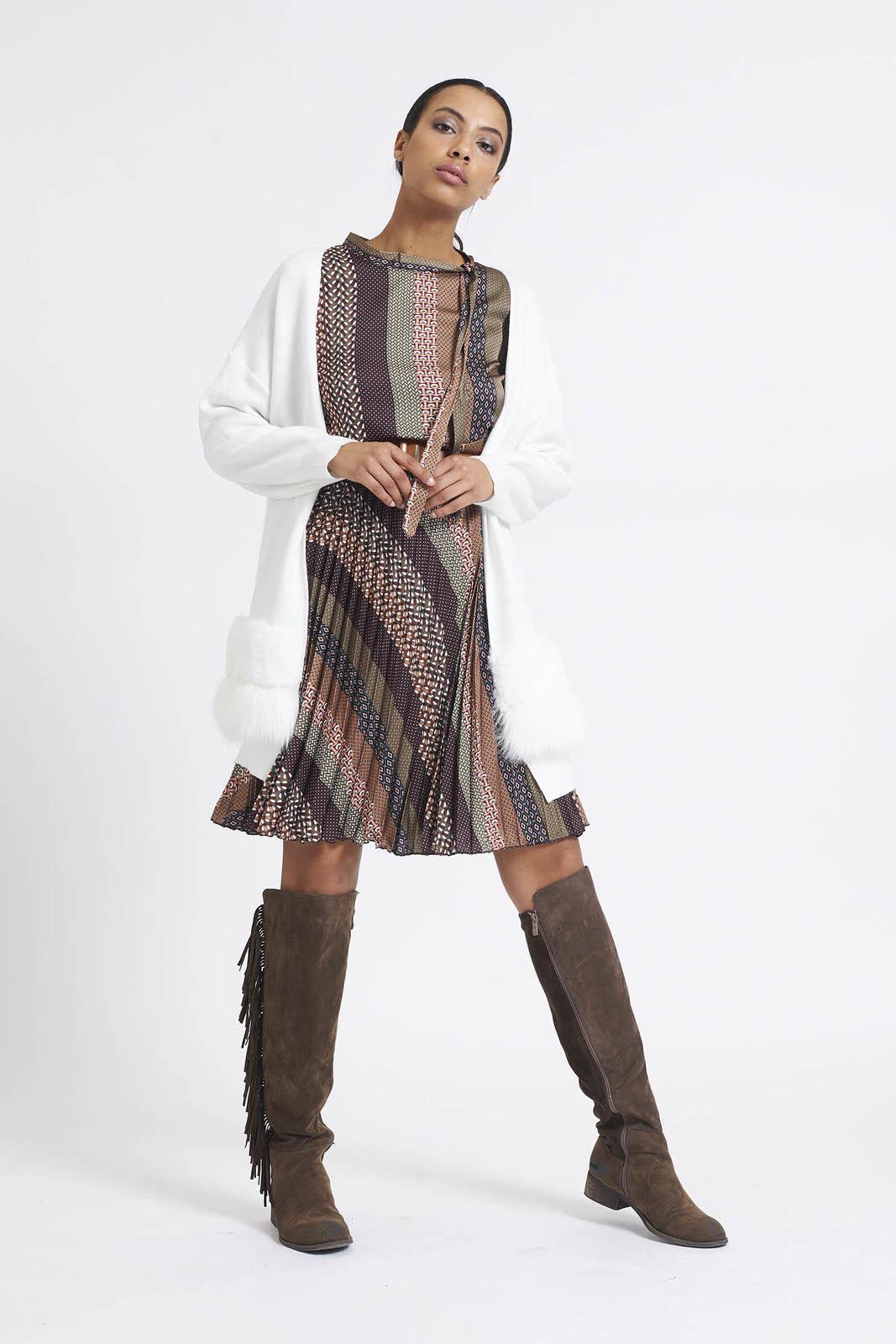 GJ Optical Dress Creme & Kakhi