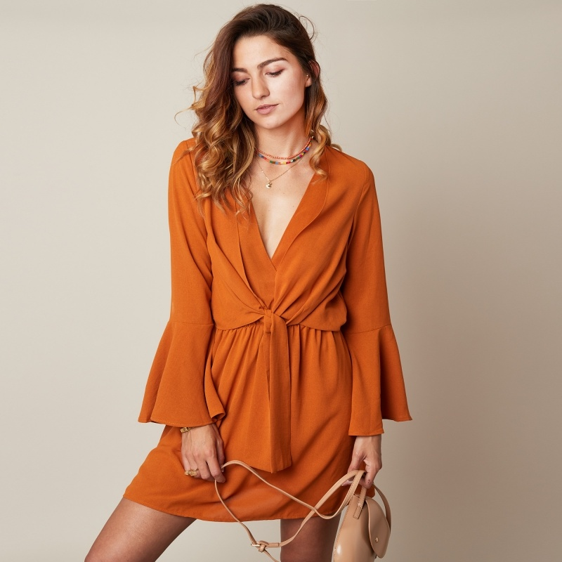 YW Perfect Fall Dress Rusty--Orange