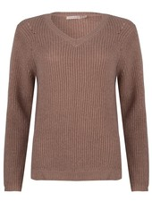 Esqualo Sweater Lurex V-Neck Taupe
