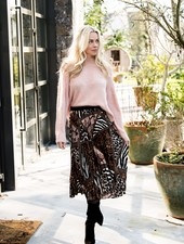 Esqualo Plissé Skirt Animal Print