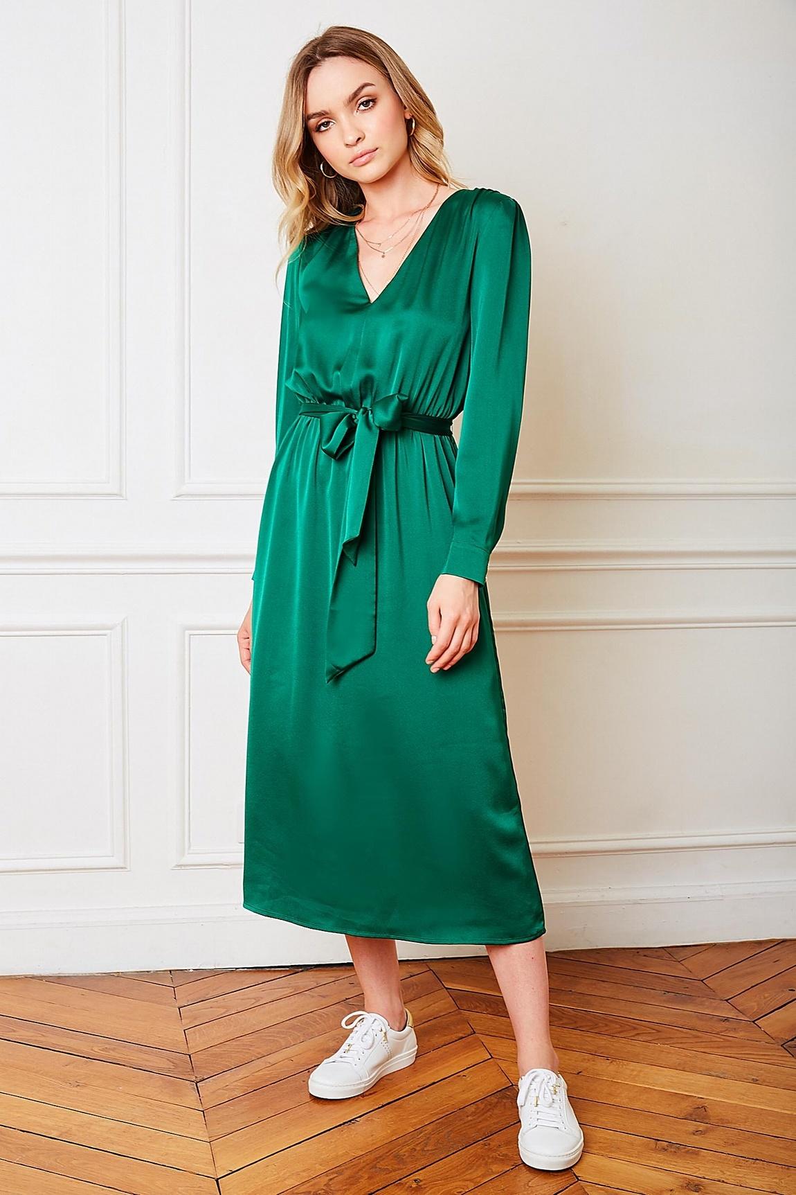 PE Julianne Dress Satin Green