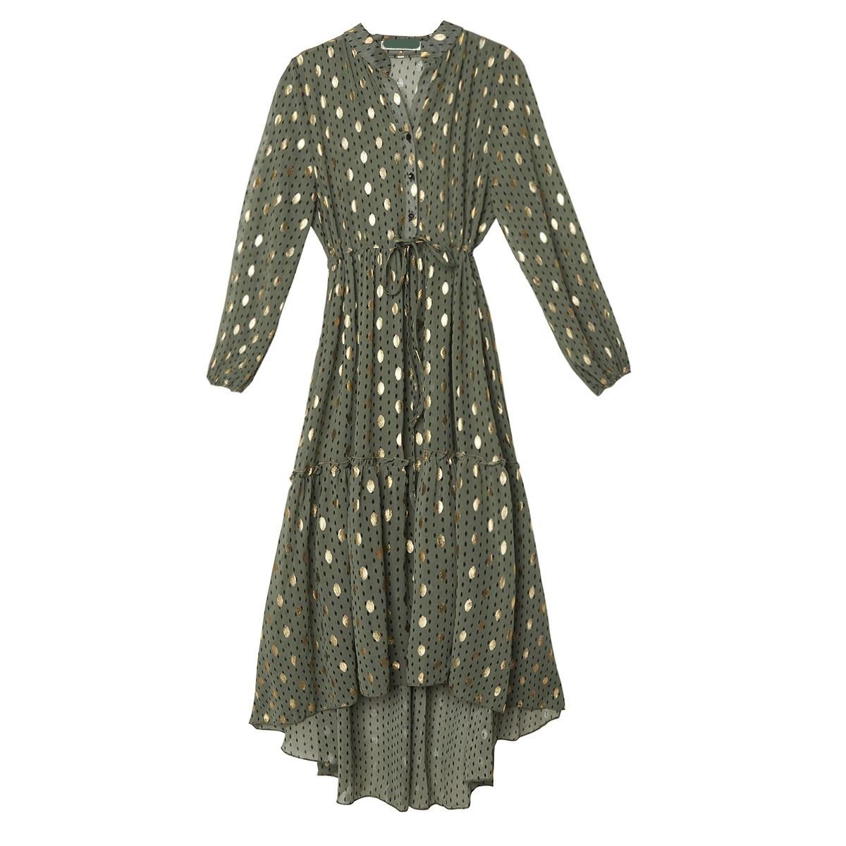 YW Axelle Long Dress Kakhi/Gold