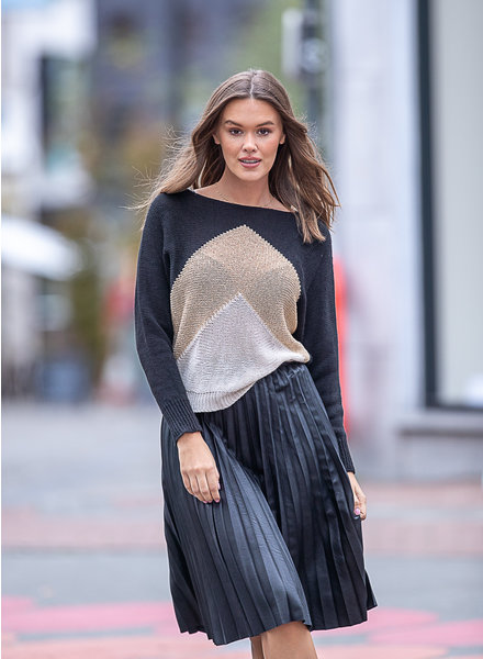 TS Leatherette Plissé Skirt Black