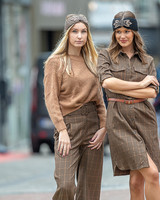 AA Glam Pantalons Carreaux Camel