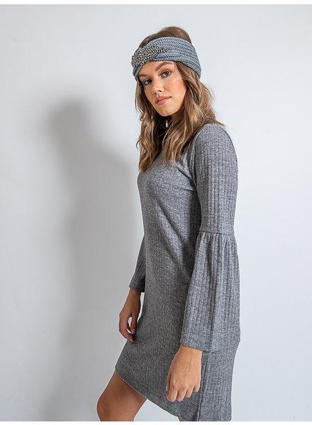 Helen Dress Rib Knit Light Grey