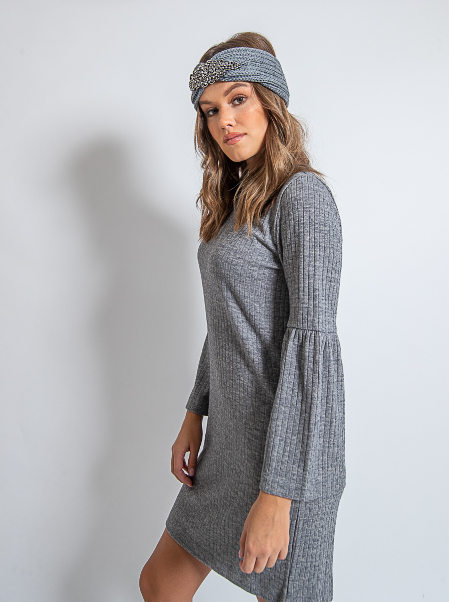 Helen Dress Rib Knit Light Grey