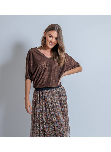 Lisa Top Lurex V-Neck Browny