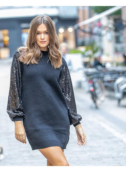 JM Sweater Dress Paillettes Black