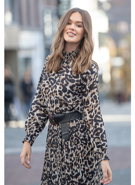 TS Leopard Blouse Coll Ruches