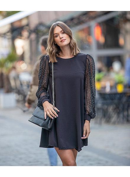 AT Black Dress Strass Sleeve
