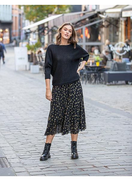 AA Plissé Skirt Black Gold Feather