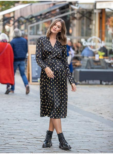 FB Stine Satin Dress Black & Gold
