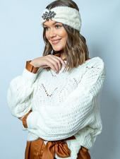 TS JM Jelle Knit Sweater Ecru Wide Sleeve